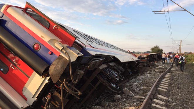This photo take on July 8, 2018 shows a derailed train following a train accident at Corlu district, in Tekirdag.