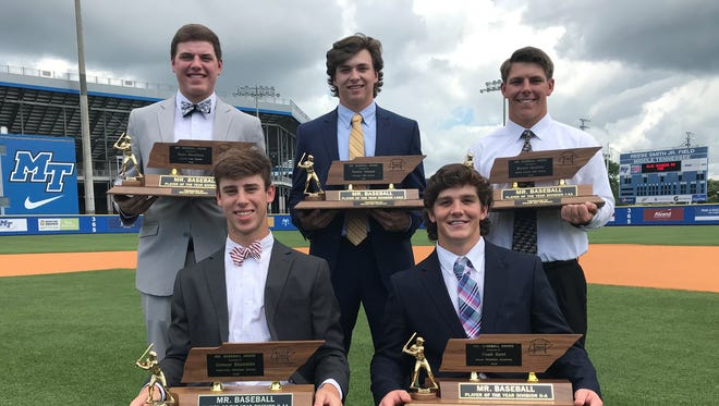 The TBCA Mr. Baseball Awards were given out on Monday at MTSU's Reese Smith Jr. Field. Winners were (front row from left) Connor Shamblin of Briarcrest Christian, Noah Gent of Knoxville Grace (back row from left) Ryan Weathers of Loretto, Parker Noland of Farragut and Bryant Goolsby of Smith County.