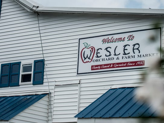 The front of the Wesler Orchard farm market in New