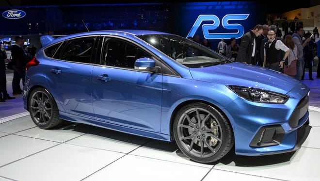 The new Ford Focus RS, seen here at the Geneva Motor Show earlier this year, will be unveiled in its U.S. version in Los Angeles