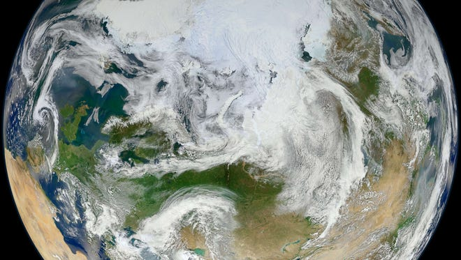 Earth, from over the Arctic, in June 2012.