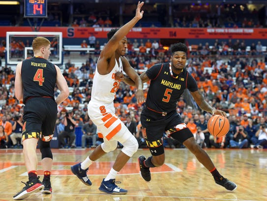 Maryland Terrapins guard Dion Wiley (5) drives to the
