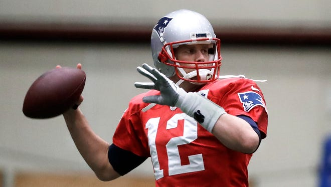 New England Patriots quarterback Tom Brady throws during a practice Wednesday, Jan. 31, 2018, in Minneapolis. The Patriots are scheduled to face the Philadelphia Eagles in the NFL Super Bowl 52 football game Sunday, Feb. 4.