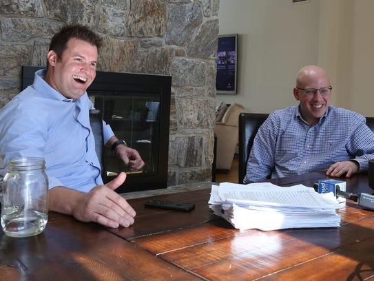 Jeff Sherwin, left, with fellow resident Jon Lewis,