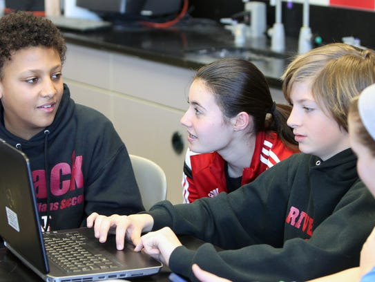 Nyack Middle School seventh-graders Karl Rodriguez,
