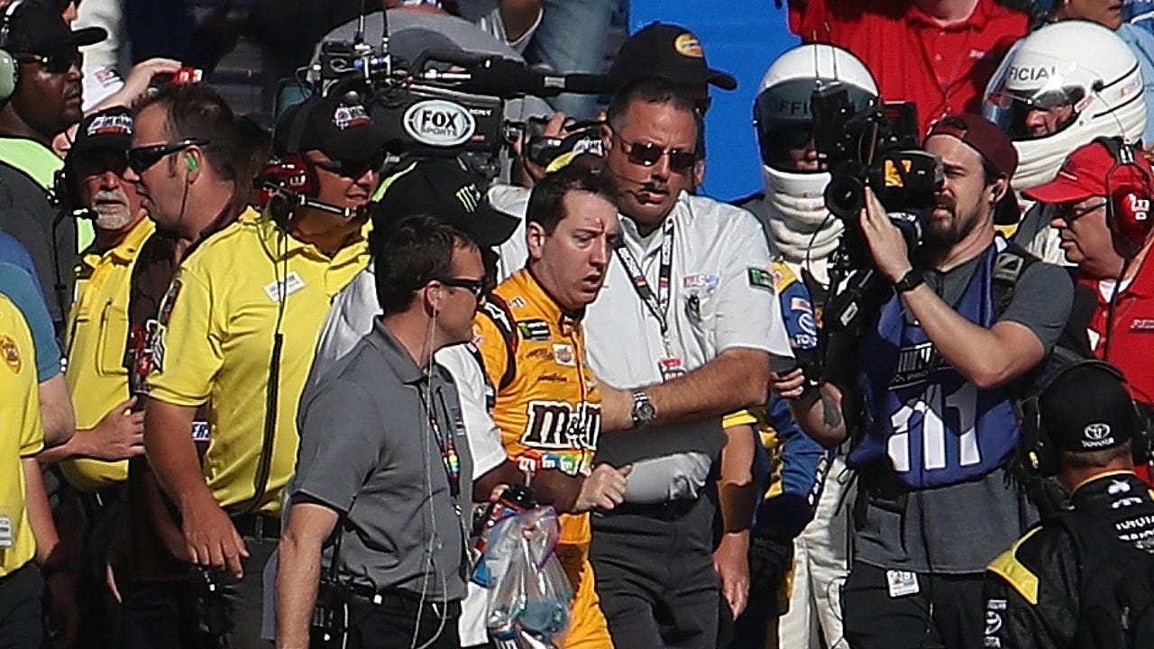 Check out the brawl between Kyle Busch and Joey Logano following their collision at the Kobalt 400 in Las Vegas. Video credit: Jeff Gluck.