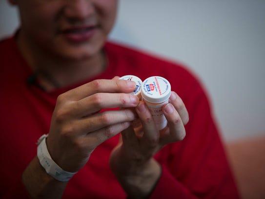 Rancel Valdez shows the prescription pain medication