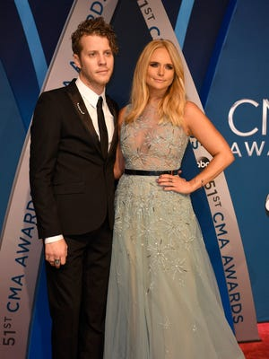 Miranda Lambert and boyfriend Anderson East walk the red carpet at Music City Center before the start of the 51st annual CMA Awards on Wednesday, Nov. 8, 2017, in Nashville.