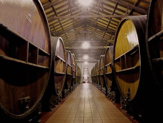 Oak red wine barrels used for aging.