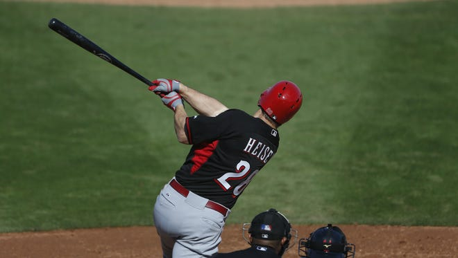 Chris Heisey went 2-for-3 with a home run and a double Saturday.