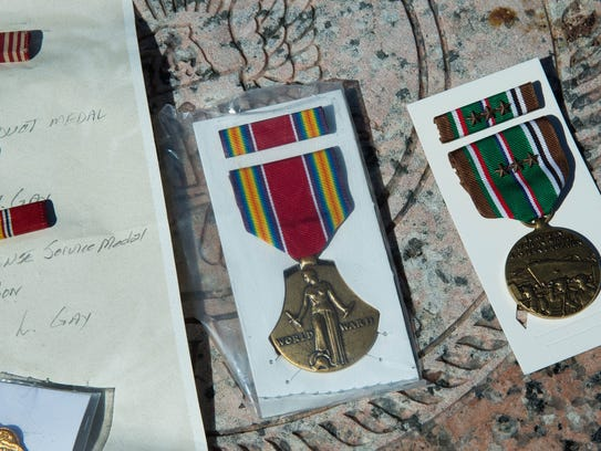 George Hubert Gay's World War II medals and comendations