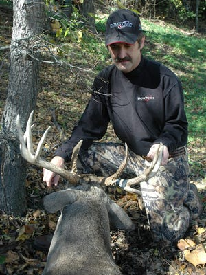 With good genetics, solid habitat conditions, and plenty of older age class bucks roaming the deer woods close to Denison and Sherman, don't be surprised to see several really good whitetails fall during the 2020 archery season that begins Saturday morning. Big O's Archery Shop owner Orvie Cantrell, Jr. of Sherman admires a good buck he took here in Grayson County several years ago.