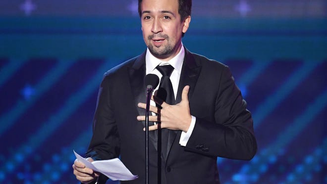 LAS VEGAS, NV - NOVEMBER 16:  Lin-Manuel Miranda accepts the President's Merit Award onstage at the 18th Annual Latin Grammy Awards at MGM Grand Garden Arena on November 16, 2017 in Las Vegas, Nevada.  (Photo by Kevin Winter/Getty Images)