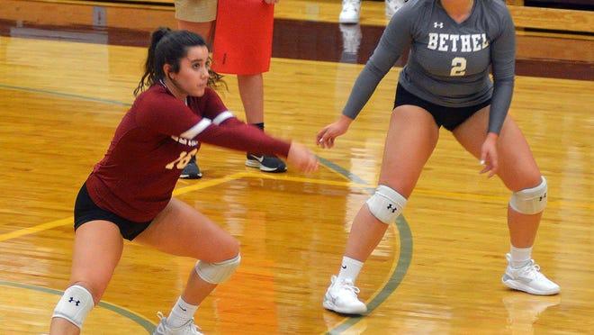 Bethel sophomore libero Katey Wilhelm handles a serve against Sterling.