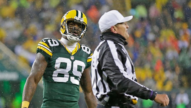Green Bay Packers wide receiver James Jones  complains about a penalty called on him during Thursday's game against the Chicago Bears at Lambeau Field.