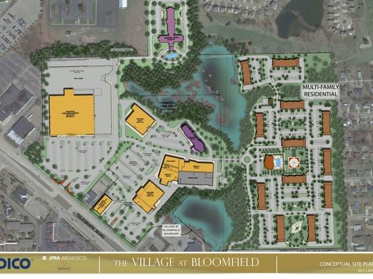 """Conceptual design of """"The Village at Bloomfield"""" that is planned to replace Bloomfield park."""