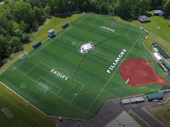 The all-turf complex at Fillmore, Allegany County incorporates a softball diamond (right) with a portion of the stadium/soccer field.