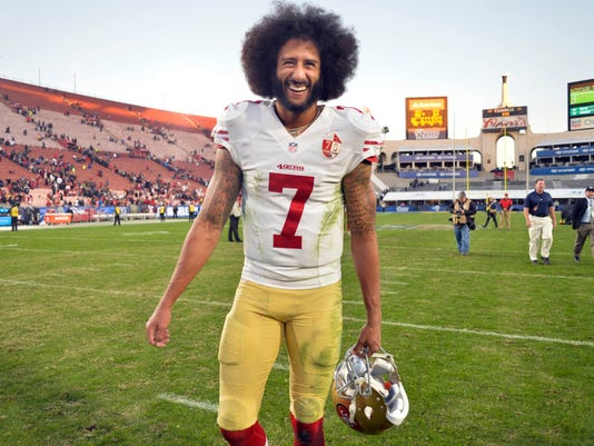 6af229b2a NFL  San Francisco 49ers at Los Angeles Rams. Former San Francisco 49ers  quarterback Colin Kaepernick smiles after ...
