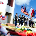 Three of the column burial vaults installed at the Guam Veterans Cemetery in Piti as seen on Thursday, Oct. 22.
