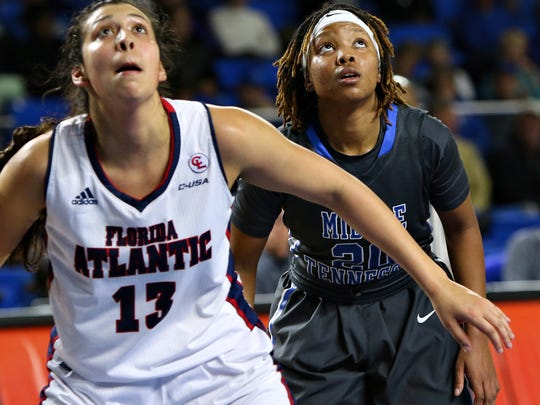 Ty Petty (20) searches for the ball behind FAU's Kat Writght (13) on Thursday.