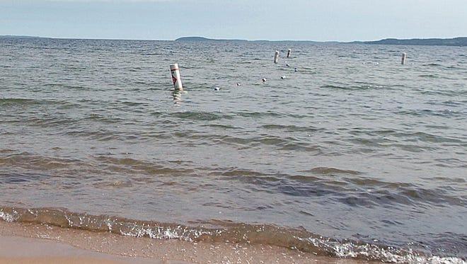Waves along a lake shore.