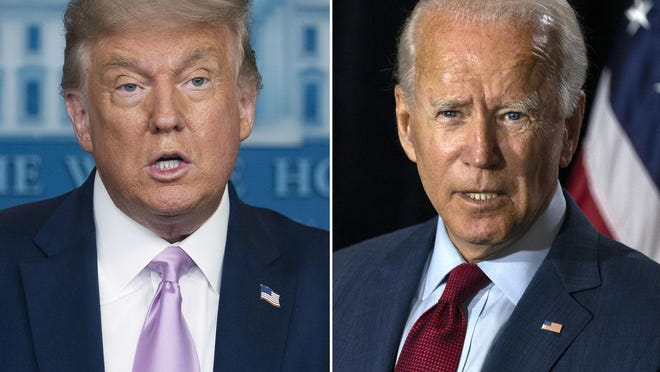 In this combination photo, President Donald Trump, left, speaks at a news conference on Aug. 11 in Washington and Democratic presidential candidate former Vice President Joe Biden speaks in Wilmington, Del. on Aug. 13.
