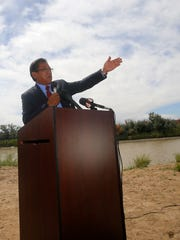 Navajo Nation President Russell Begaye speaks on Aug. 16 during a press conference at Nizhoni Park in Shiprock to announce that the tribe had filed a lawsuit in response to the Gold King Mine spill.
