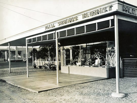 Early photo of Palm Springs Florist storefront on Palm Canyon Drive.