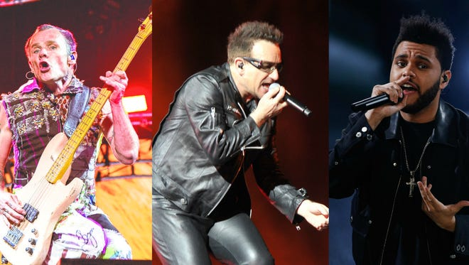 U2, Red Hot Chili Peppers and The Weeknd will headline the 2017 Bonnaroo Music & Arts Festival.