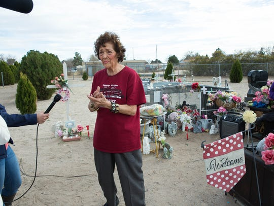 Former Sen. Mary Jane Garcia speaks about the importance of protecting children, during a ceremony at the grave side of Baby Brianna, Brianna Lopez. Wednesday Feb. 14, 2018.