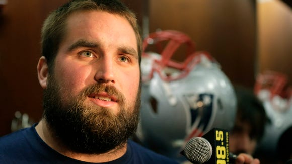 New England Patriots guard Josh Kline speaks with reporters before an NFL football practice, Wednesday, Oct. 21, 2015, in Foxborough, Mass.