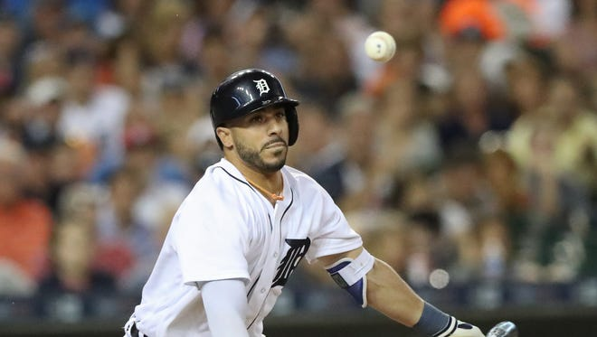 Detroit Tigers' Mike Aviles gets the game-winning RBI against the Seattle Mariners during eighth inning action Tuesday, June 21, 2016 at Comerica Park in Detroit.