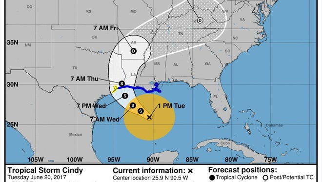 Forecast path of Cindy, as of 1 p.m. CDT on Tuesday, June 20.