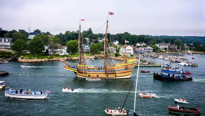The Mayflower II heads out to sea from Mystic Seaport on Monday, July 20.
