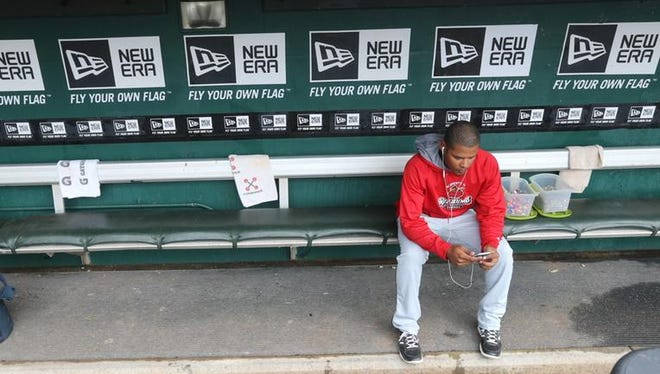 Argenis Diaz in the dugout in Buffalo before the game.