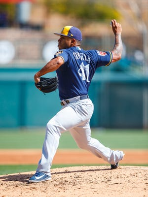 Mar 12, 2018; Glendale, AZ, USA; Milwaukee Brewers pitcher Junior Guerra against the Los Angeles Dodgers during a Spring Training game at Camelback Ranch. Mandatory Credit: Mark J. Rebilas-USA TODAY Sports
