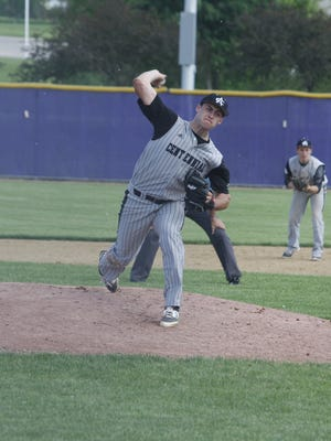 Ankeny Centennial's Keaton McKinney pitches during a game at Indianola on May 28.
