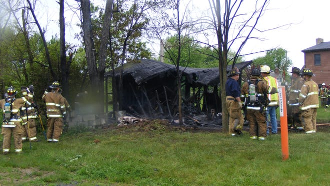 A shed at 752 Ono Road, East Hanover Township, was destroyed by a fully-involved fire on Saturday, May 14, 2016.