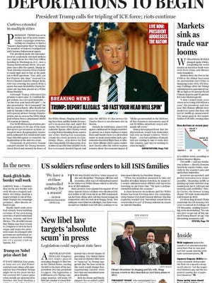 The Boston Globe ran a fake front page envisioning a Donald Trump presidency.