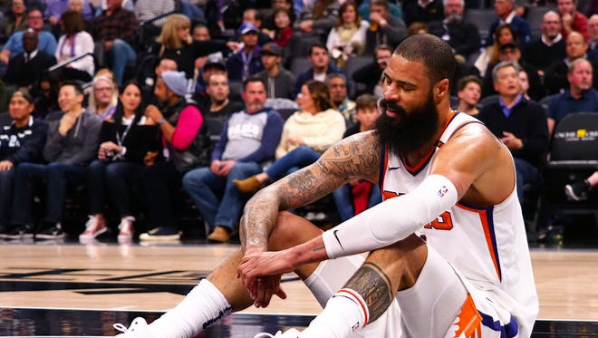 Dec 12, 2017: Phoenix Suns center Tyson Chandler (4) reacts after missing an alley oop against the Sacramento Kings during the third quarter at Golden 1 Center.