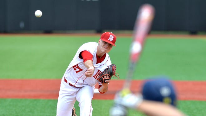 Bradley pitcher Elliott Ashbeck pitches against Michigan during the Louisville Regional of the NCAA baseball tournament on Friday, May 29, 2015, in Louisville, Ky.