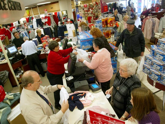 Black Friday customers in line at the Bon-Ton store