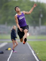 Brownsburg East Middle School long jumper Pierce Thomas has been turning heads this year with his long jumps. In one track meet he jumped 24ft 11in. He also runs in the 200m and 400m for Brownsburg East Middle School. Here Thomas makes a jump during a recent track meet at Plainfield Middle School.