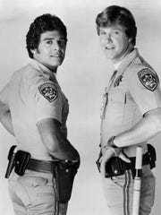 """Erik Estrada (Ponch, left) and Larry Wilcox (Baker) starred in the NBC crime drama """"CHiPs"""" in the late 1970s, early 1980s."""