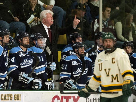 Maine head coach Red Gendron questions a no goal call in the first period during the men's hockey game between the Maine Black Bears and the Vermont Catamounts at Gutterson Field House on Friday night November 29, 2013 in Burlington, Vermont. (BRIAN JENKINS, for the Free Press)