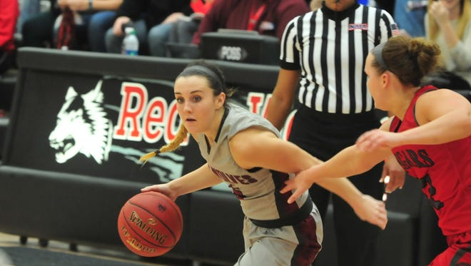 Kristen Miller (5) of the IU East women's basketball team moves the ball against IU Kokomo in the River States Conference women's basketball tournament championship game Tuesday, Feb. 28, 2017.