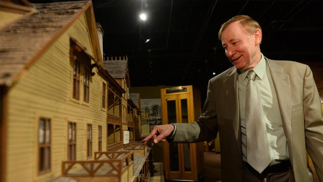 Jim Meinert, executive director of The History Museum, talks about a scale model of the Park Hotel, which was located at what is now the Park Manor Retirement Apartments. The History Museum is celebrating its 40th anniversary.