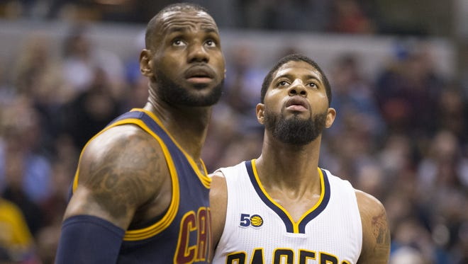 Lebron James of the Cleveland Cavaliers and Paul George of Indiana, at Indiana Pacers, Bankers Life Fieldhouse, Indianapolis, Wednesday, February 8, 2017.