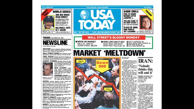 USAT front page from Oct. 20, 1987, with the Stock Market Crash