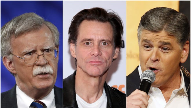 Jim Carrey has switched his artistic inspiration from President Trump to national security adviser John Bolton and conservative pundits like Sean Hannity.